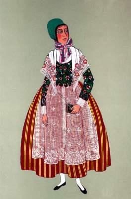 Sundgau,Alsace,Paysanne,Peasant,Traditional, Traditionnel,Costumes,france,Département Haut-Rhin,
