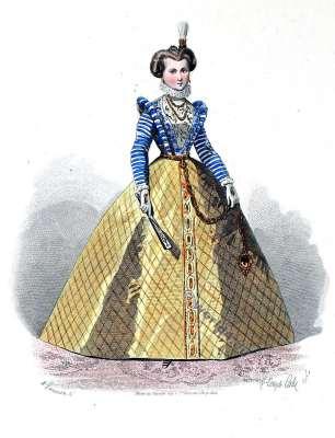 16th century fashion. Epoque de Henri III costume. Renaissance costumes. Authentic court dresses