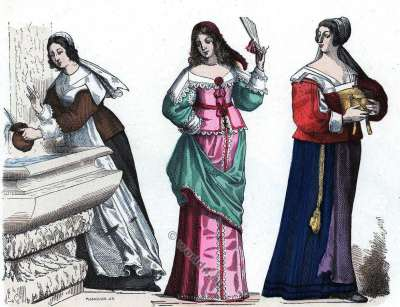 Chambermaid costume. Lady small toilet. Bourgeois of the Province. 17th century fashion.