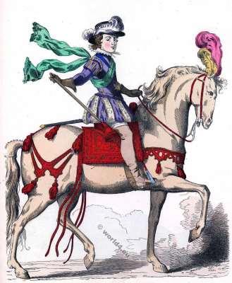Louis XIII à cheval. Histoire de la mode baroque. 16ème siècle costumes.
