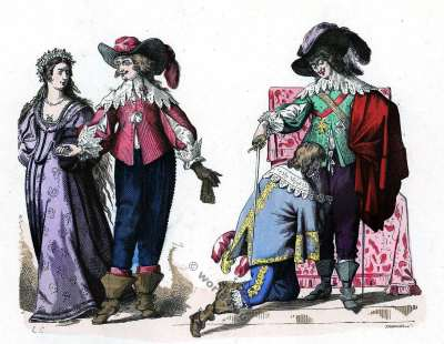 Knight Holy Spirit. Baroque fashion history. Louis XIII. France 17th century costumes.