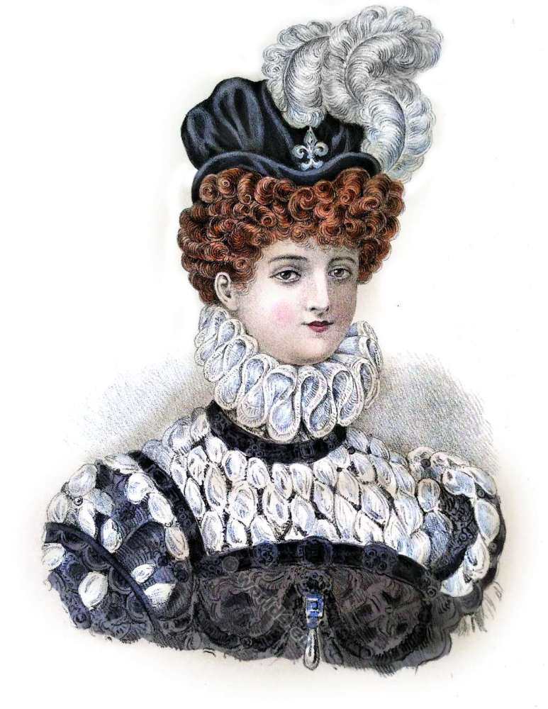 Coiffure Henri III. Renaissance fashion. 16ème siècle