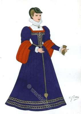 Renaissance costume. Epoque de Charles IX. 16th century fashion.