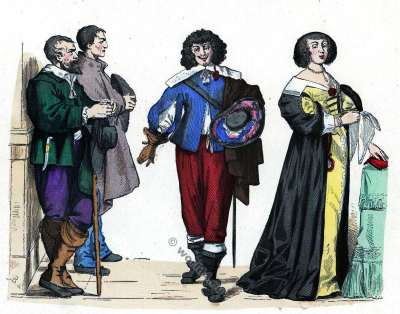 Great Attire. Baroque fashion history. Gentleman, Peasants costumes. 17th century fashion.