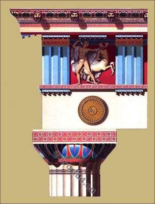 Doric column, frieze, entablature. Classical architecture. Ancient Greece. Propylaea. Epistylion.