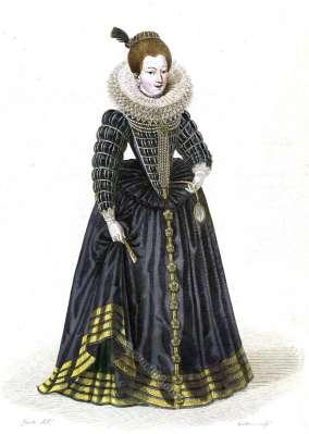 Gabrielle d'Éstreés, Duchesse de Beaufort. Mistress Henry IV. France 16th century fashion. Baroque costume history