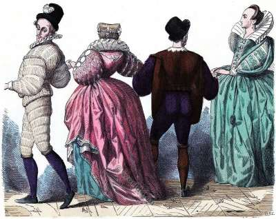 Lady and Gentlemen costumes. Renaissance fashion history. Baroque era. 16th century clothing.