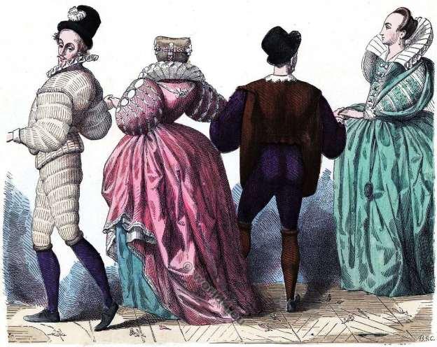 16ème siècle. la mode baroque. Dame et Gentilshommes costumes.