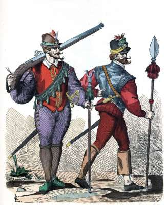 Musketeer, infantry officer costumes. 16th century military uniform. Baroque fashion history