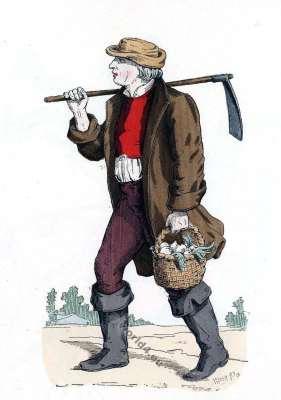 Paysan laboureur français du 16ème au 18ème siècle costume. Histoire de la mode baroque.