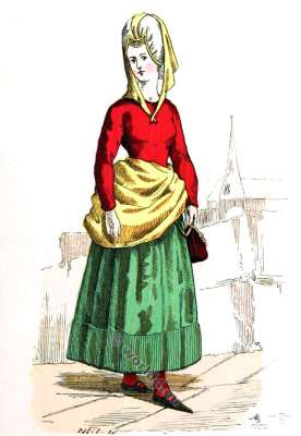 Bourgeois costume. Fashion middle ages. Clothing 14th century