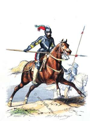 Chevau-légers. 16th century military. Renaissance soldier. French Cavalry uniform