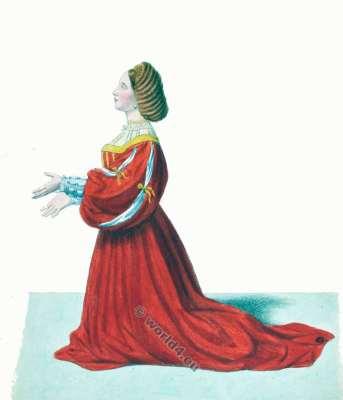 Costume Milan Italie Moyen Age 14ème siècle. costumes gothiques. la mode bourguignonne.