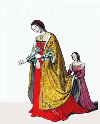 Eléonore de Portugal, Impératrice. 15 vêtements de siècle. costumes de la noblesse médiévale. la mode gothique