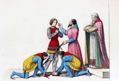 Création d'un chevalier. Chevalier au 15ème siècle. Moyen âges militaire. costume médiéval. histoire de la mode bourguignonne.