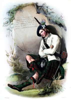 Clann Mhic Iain, Ghlinne Comhann. The Mac Donalds of Glenco. Clan. Tartan. Scotland national costume. Clans of the Scottish Highlands.
