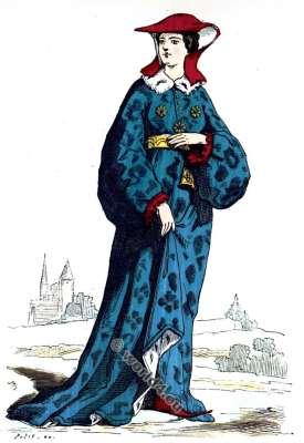 Dame Noble. La mode du moyen âge. Vêtements du 14ème siècle.