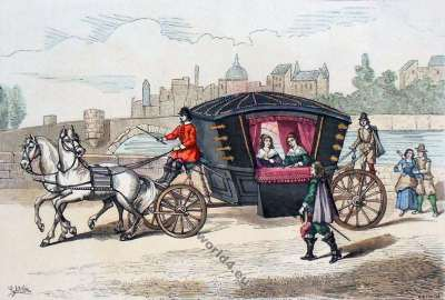 premiers,carrosses,Louis XIII.,17ème siècle. Ancien régime modes. Histoire du costume baroque.