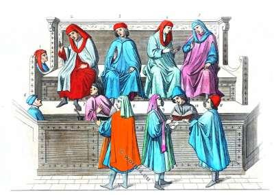 Tribunal des Marchands. Le costume et la mode au Moyen Age. Italie costumes du 14ème siècle. Merchant Court. costumes gothiques médiévaux. la mode bourguignonne.