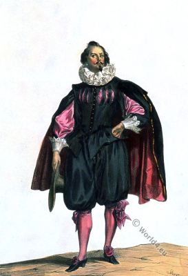 Civil suit. Baroque fashion. Louis XIII. 17th century costume.