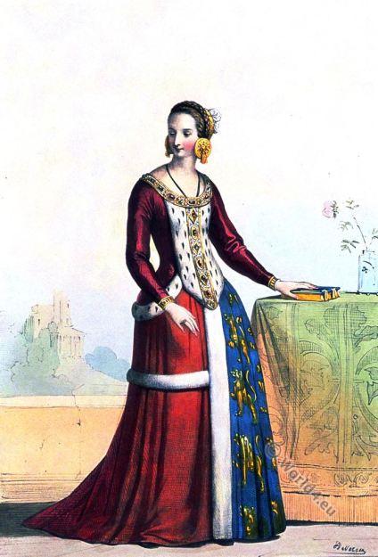 Costumes historiques. Dame de la cour de Louis XI. XIVe siècle. Achille Devéria. Mode médiévale.