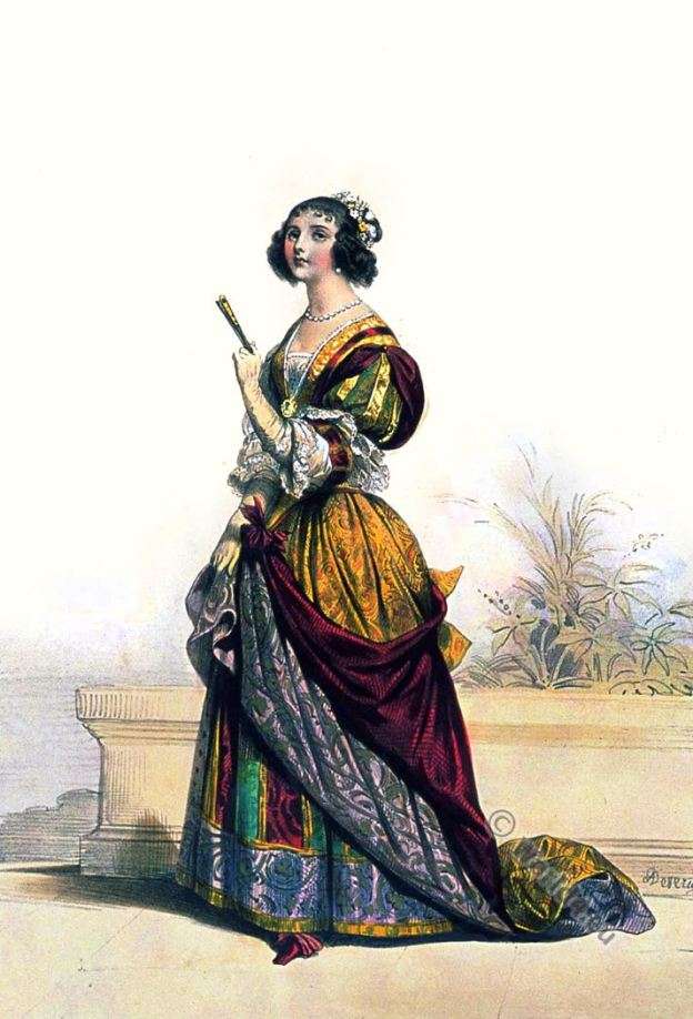 Dame Francaise. XVIIe siècle. Femme de noblesse. Baroque de mode. Costume au 17ème siècle. Achille Devéria.