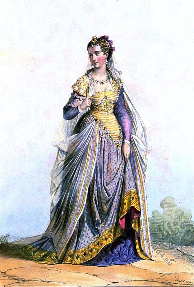 Dame Romaine. Costume. La mode Renaissance au 16ème siècle.
