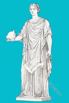 Minerva Pacifica. Roman empire. Ancient costume. Roman sculpture.