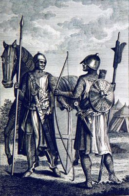Norman soldiers. Military Middle Ages. William the Conqueror.