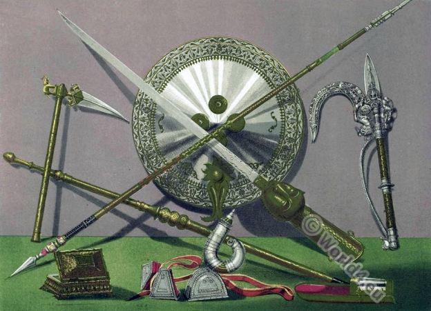 India, armour, Ornamented, Weapons, Koftgari-work, Kotli, artisans, bidri-work, wootz. brass-work, middle ages.