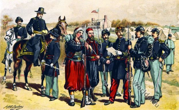 U.S.uniforms. Civil War. 18th century. Cavalry. Zouave. Major General. Artillery Line Officer. American Civil War.