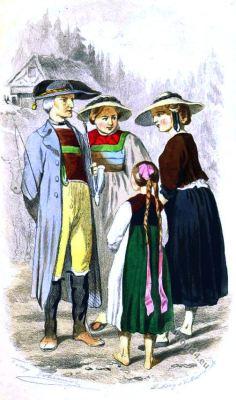Peasants costumes. Baden folk costume. German traditionel dress.