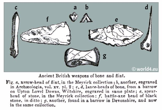 Ancient British weapons. bone. flint. Celtic. Gauls. England History. Meyrick collection. Wiltshire.