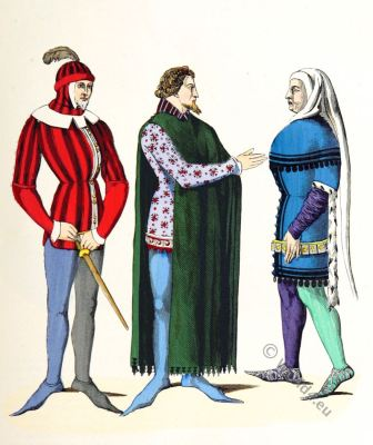 Attendant, French Lords costumes. 14th century. Medieval costume. Gothic. Mi-Parti