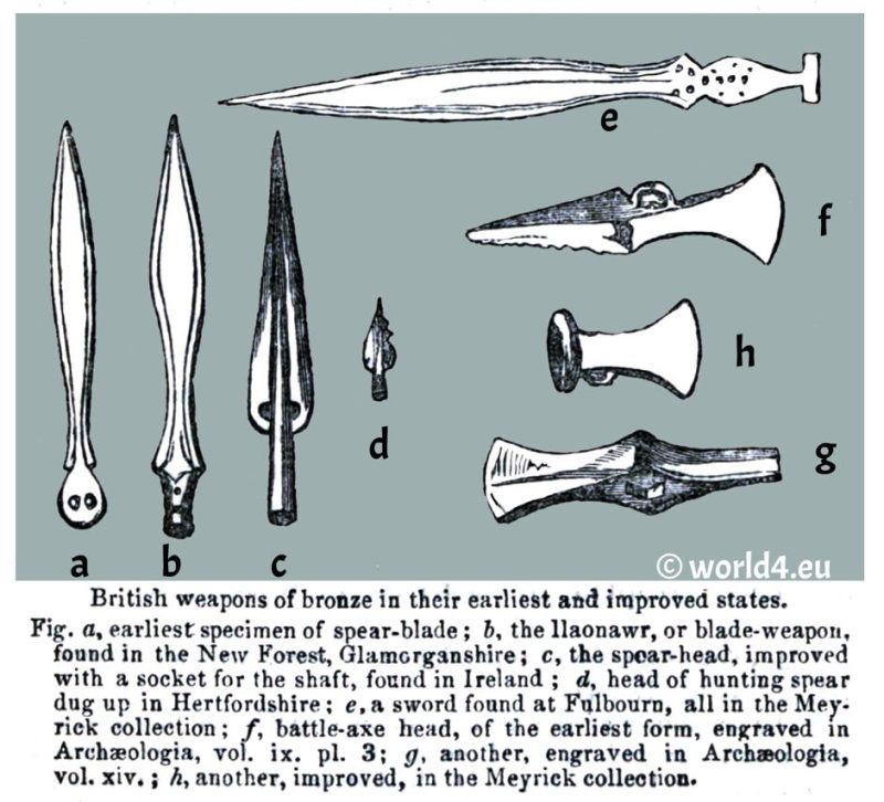 British weapons. Ancient armory. spear-blade. England bronze age. savages. blade-weapon. hunting spear. Hertfordshire. Meyrick collection. Archaeologia.