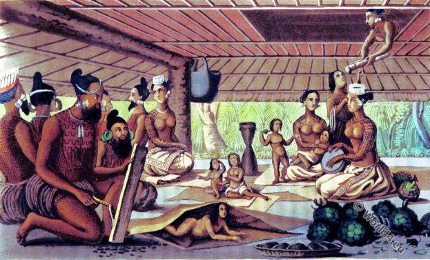 Marshall Islands. Polynesia. Costumes. Architecture. Tattoo