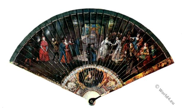 Fan design, rococo. 18th century, Watteau, Ivory, Antique