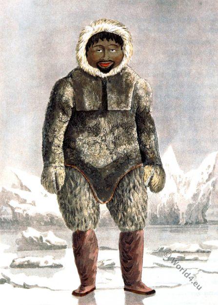 Greenland. Ervick, Inuit. Eskimo. Native, Arctic, Highlander, Prince Regents Bay, Dress, Costume, glaciers, ice, parkas, fur,