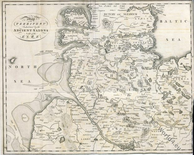 Saxon, Ancient Map, Elbe, Germany, Territory, Sax, Saxons