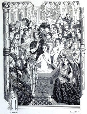 Baptism, King Clovis, Merovingian, middle ages