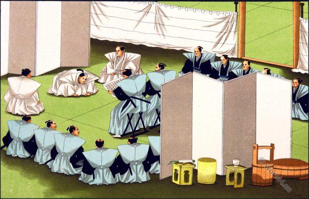 Suicide. Japan, Seppuku. Samurai, Tycoon. Hara Kiri. Costumes. traditional. 切腹, 腹切り,