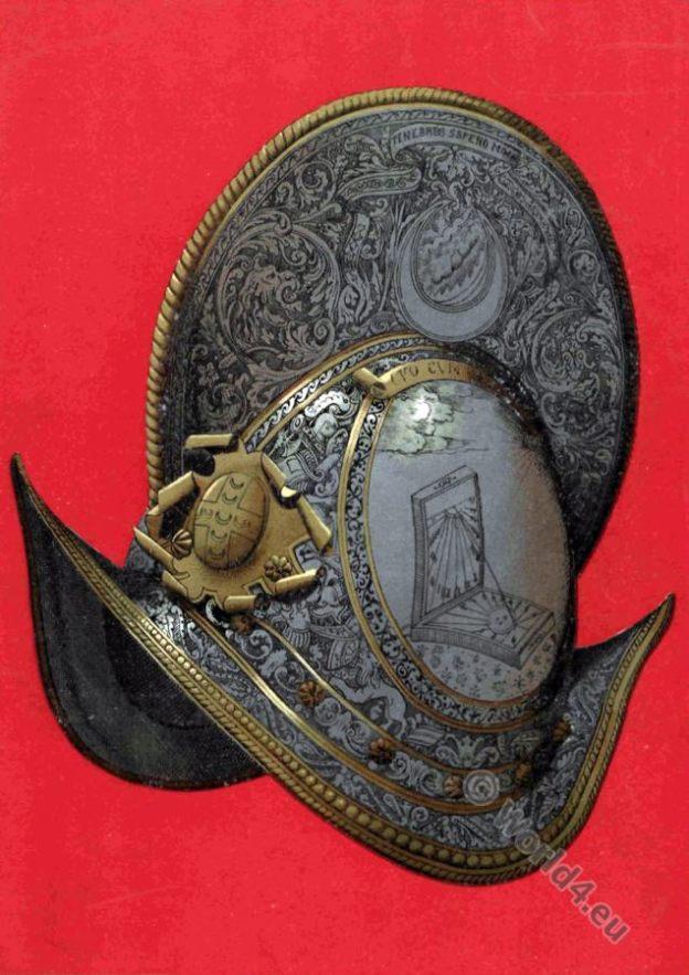Alfonso Piccolomini di Firenze. Conte di Montemarciano. casco Rinascimento.