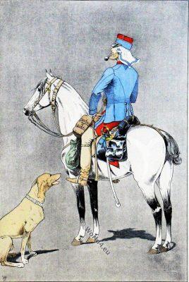 Military uniform, France,  Officer, cavalry, horse hunters,  Algeria, Tunisia, Oran,