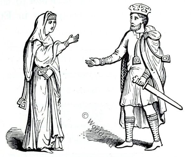 Queen Ælfgifu, King Canute, Saxon, Anglo-Saxon manuscript, costume, history, England medieval fashion
