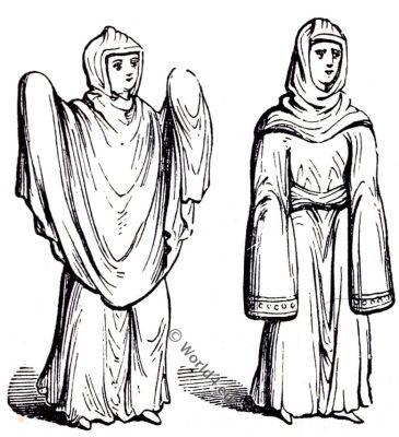 Travelling cloaks, Saxon, Anglo-Saxon manuscript, costume, history, England medieval fashion