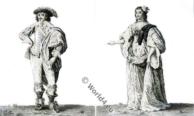 17th century fashion. Baroque costumes, London, England, Stuart,