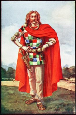 Celtic Chieftain, Ancient costume, England, Celt, Britain costume, Herbert Norris