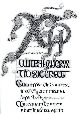 Calligraphy, 10th Century, Anglo-Saxon,Evangéliaire latin