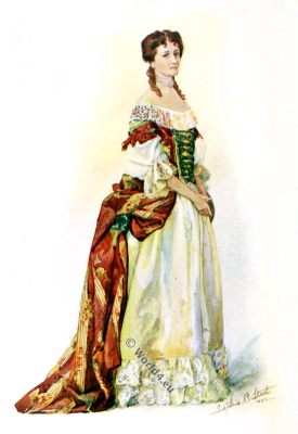 England baroque fashion. 17th century dress