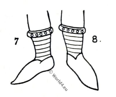 Norman shoes, England, medieval fashion, 10th century costumes